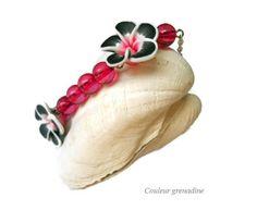 Bracelet bohême fleur de tiaré pâte fimo et perles : Bracelet par couleur-grenadine33