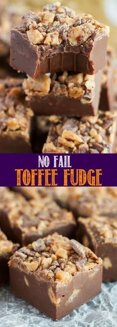 Easy No Fail Chocolate Toffee Fudge is an incredibly simple. Easy No Fail Chocolate Toffee Fudge is an incredibly simple recipe that makes the best fudge ever! Perfect for holidays and parties and makes a great gift! Fudge Recipes, Candy Recipes, Sweet Recipes, Baking Recipes, Dessert Recipes, Toffee Fudge Recipe, Best Fudge Recipe, Caramel Fudge, Chocolate Toffee
