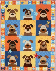 "Hound Dogs quilt: This delightful hound dog quilt pattern is included in the book Happy Quilts! by Antonie Alexander. Finished size is 56 1/2"" x 72 1/2""."