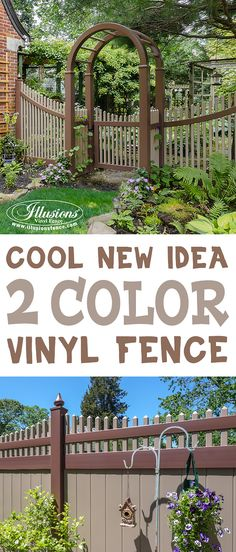 Looking for a great new backyard idea? Want the coolest fence in the neighborhood? How about a two color PVC vinyl fence from Illusions Vinyl Fence. Shown here is a Brown and Adobe Grand Illusions Color Spectrum Vinyl Fence. With custom sweep rails (TOP) and Teardrop Caps (BOTTOM). Be the Joneses! #illusionsfence