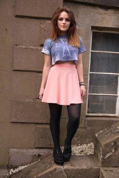 Rare Belted Flare Skirt. love her skirt & hair.