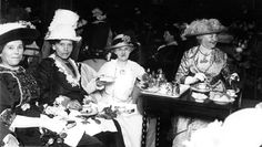 Ladies enjoying Afternoon Tea at the Brown Palace Hotel in Denver, CO (circa 1910). Find historic scone #recipe used during these teatimes at http://www.historypressblog.net/2012/05/14/antique-eats-brown-palace-scones-for-your-afternoon-tea/