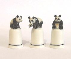 Set of Three Panda Ceramic Figurine Thimbles