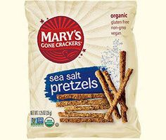 Mary's Gone Crackers products are all certified gluten-free and the sea salt pretzels also come in a snack sized package.
