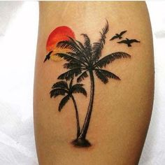 Best Palm Tree Tattoo Designs for Summer Vibes - Tats 'n' Rings - palm tree sunset leg tattoo - Paar Tattoos, Leg Tattoos, Body Art Tattoos, Small Tattoos, Cool Tattoos, Tattoo Ink, Tatoos, Tree Tattoo Designs, Tattoo Designs For Women