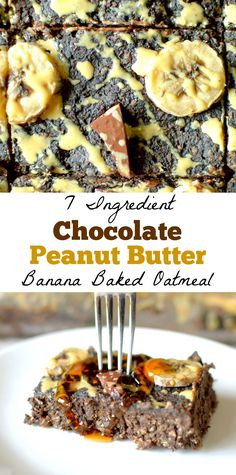 This healthy Chocolate Peanut Butter Banana Baked Oatmeal is the ultimate decadent dessert for breakfast! This healthy breakfast recipes is made with only 7 ingredients, gluten-free and vegan friendly! Quick Healthy Breakfast, Healthy Meals For Two, Healthy Eating Recipes, Healthy Desserts, Gourmet Recipes, Baking Recipes, Avocado Breakfast, Vegetarian Desserts, Healthy Brunch