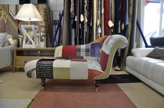 Fabric Sofas & Suites : LYON Chaise in Designer's Guild Patchwork Fabric