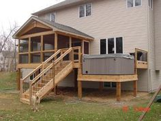 hot tub deck screened in deck Screened In Porch Furniture, Screened Porch Designs, Screened In Deck, House Deck, House With Porch, Simple Porch Designs, Sunken Hot Tub, Outdoor Deck Decorating, Hot Tub Deck