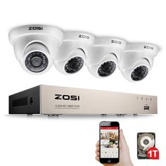 ZOSI FULL Video Security Camera System, 4 White Weatherproof Channel HD-TVI DVR with Price history. Product ID: Video Security, Home Security Tips, Security Cameras For Home, Security Alarm, House Security, Security Products, Wireless Home Security Systems, Security Camera System, Security Surveillance