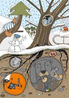 Pohled A6 - Zimní spánek / Zboží prodejce KRESLÍKÁRNA | Fler.cz Winter Art Projects, Winter Crafts For Kids, School Art Projects, Projects For Kids, Kids Crafts, Painting For Kids, Drawing For Kids, Art For Kids, Winter Illustration