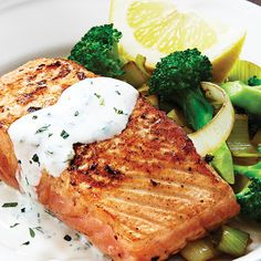 Salmon & Broccoli with Tangy Lemon Herb Sauce The colorful combination and silky sauce will wow guests yet won't relegate you to the kitchen, thanks to minimal hands-on time.