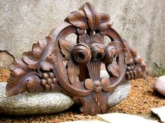 French antique 19th century wood sculpture rose