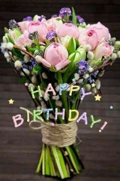 68 trendy flowers bouquet birthday wishes Birthday Wishes Flowers, Happy Birthday Wishes Cards, Happy Birthday Flower, Happy Birthday Pictures, Birthday Wishes Quotes, Happy Birthdays, Free Birthday, Happy Pictures, Spring Flowers
