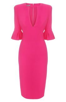 Alexander McQueen Tulip Sleeve Pencil Dress in Fuschia