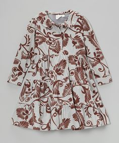 Another great find on #zulily! Cream & Brown Floral Tiered Dress - Toddler & Girls #zulilyfinds
