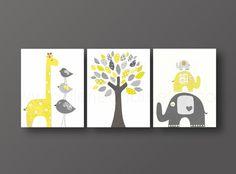 This is a set of prints made on matte photo paper that will need to be framed. Childrens Art Gray blue Nursery Art baby Boy nursery Decor kids Wall art Giraffe Nursery Elephant Nursery Bird tree Set of three prints 148
