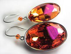 LARGE Swarovski Astral Pink Fuchsia Earrings Orange by NataliaKh, $33.77