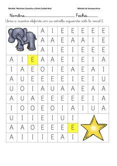 fichas-de-lectoescritura-sigue-la-vocal-e-3 Montessori Activities, Alphabet Activities, Infant Activities, Preschool Activities, Elementary Spanish, Teaching Spanish, Shapes For Toddlers, Psychology Resources, Teaching Babies