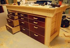 Best representation descriptions: Wood Workbench with Drawers Related searches: Woodworking Drawer Plans Help,Dresser Drawers,House Plans W. Workbench With Drawers, Wooden Drawers, Workbench Plans, Woodworking Table Plans, Woodworking Workbench, Woodworking Projects, Welding Projects, Wood Drawer Slides, Lumber Storage
