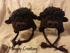 Crocheted buffalo hats.
