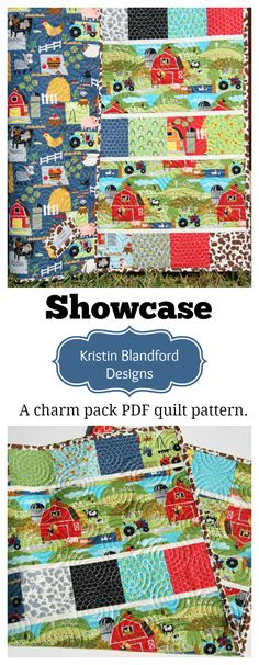 Charm Pack Quilt Pattern for Baby and Throw Sized Quilts, Pre-cut Friendly, Quick Simple Easy Quilt Pattern to Make, Focus Fabrics, Beginner to Intermediate, Crib Quilt Pattern, Throw Quilt Pattern, Showcase Quilt Pattern by Kristin Blandford Designs