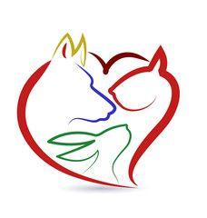 Vector Cat dog bird and rabbit logo