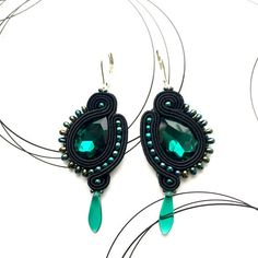 Medium size earrings made in soutache technique. Lovely dangle earrings with glass crystals. Black color makes this pair very elegant, perfect as an addition to evening outfit. Add subtle shine to your look! I made them using the best quality materials with big attention to every