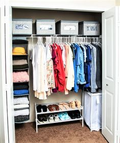 College Closet Organization complete with fabric bins, shoe rack, shelves, and h. College Closet O Kid Closet, Closet Bedroom, Bedroom Decor, Closet Ideas, Master Closet, Bedroom Ideas, College Closet Organization, Wardrobe Organisation, Bedroom Organization