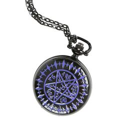 Black Butler Tetragrammaton Pocket Watch Necklace Hot Topic ($10) ❤ liked on Polyvore featuring jewelry, necklaces, black jet jewelry, kohl jewelry, pocket watch, black pocket watch and black jewelry