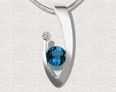 Blue Topaz Necklace London blue topaz pendant CZ Necklace Artisan Jewelry Argentium Silver - 3418