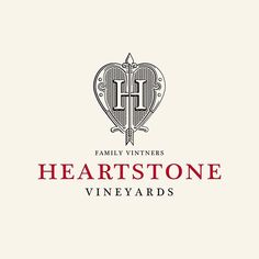 A logo by for a private family vineyard in Robertson Label Design, Logo Design, Stone Heart, Vineyard, Logos, Decor, Decoration, Decorating, Logo