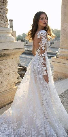 24 Gorgeous Spring Wedding Dresses ❤ spring wedding dresses a line with illusion long sleeves lace floral pnina tornai #weddingforward #wedding #bride