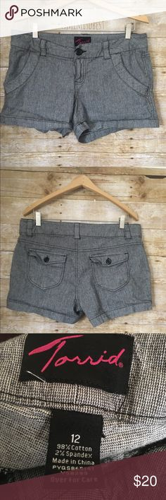 "Torrid size 12 shorts Torrid, gray heathered shorts. Size 12.  Details:  ⭐️  12"" L (waist to hemline)  ⭐️  17"" wide when laying flat  ⭐️  8"" Rise   ⭐️  12"" leg opening torrid Shorts"