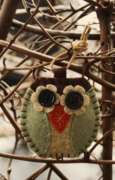 Cute owl felt ornament decoration sage green and brown