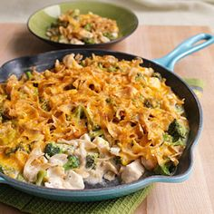 Stovetop Chicken and Broccoli Casserole  We trimmed 9 grams of fat and almost 100 calories in this makeover of cheesy chicken-and-broccoli casserole.  #myplate #protein #vegetables #wholegrain