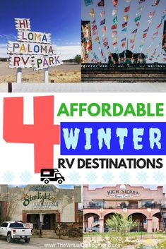 Four affordable winter RV destinations so that you and your family can enjoy full-time RV living all year long! Save your money, avoid boondocking, and keep warm at the campground. Click to read my favorite spots! | www.TheVirtualCampground.com