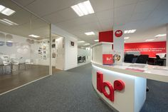 Modern stylish and bright reception area designed and created by Aztec Interiors in Liverpool.