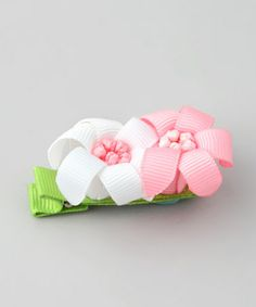 Take a look at this Light Pink & White Lily Clip by Bubbly Bows on #zulily today!