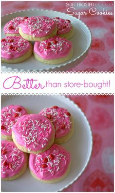 Soft Frosted Sugar Cookies - BETTER than the store-bought ones! Perfect for Valentine's Day!