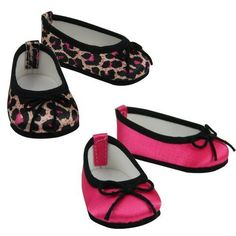 18 Inch Doll Dress Shoes, 2 Pair Slip On Doll Shoes, Fits American Girl Dolls. 2 Pair: 1 Hot Pink W/ Black Trim 1 Hot Pink & Black Animal Print Doll Shoes