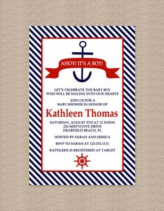 Nautical Anchor Baby Shower Invitation
