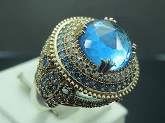 Turkish-Handmade-Hurrem-Sultan-925-Sterling-Silver-Aquamarine-Ladies-Ring-Sz-10