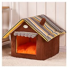 RunHigh House Shape Pet Bed Windproof Warm Cozy Removable Soft Pad Sleep Home For Cat Dog Rabbit -- You can find more details by visiting the image link. #CatsBedsFurniture