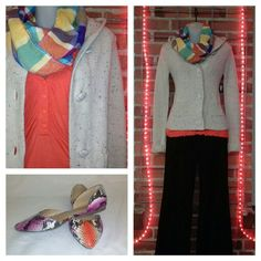 Day Trip knit hoodie XS $11; Daisy Fuentes orange button short sleeve top S $8; J. Crew brown cords 4 $15; bright infinity scarf $15; bright snake skin flats 7.5 $15