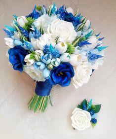 Blue and White wedding bouquet - Garten - brautstrauss Tulip Wedding, Cheap Wedding Flowers, Prom Flowers, White Wedding Bouquets, Wedding White, Blue And White Roses, Ivory Roses, White Tulips, Prom Bouquet