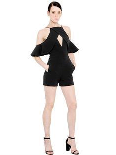 DAVID KOMA CUTOUT & RUFFLED CADY JUMPSUIT, BLACK. #davidkoma #cloth #jumpsuits