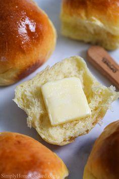 Soft Brioche Dinner Rolls with one cut in half with a pat of butter on it. Yeast Rolls, Bread Rolls, Soft Rolls Recipe, Fall Recipes, Great Recipes, Favorite Recipes, Brioche Rolls, Homemade Dinner Rolls, Best Bread Recipe
