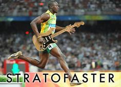 Bolt with a Strat...love it!  For my son, who is an awesome guitar player and runner :)
