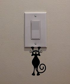 YINGKAI CatKitten Hanging From Light Switch Decal Vinyl Wall Decal Sticker Art Living Room Carving Wall Decal Sticker for Kids Room Home Window Decoration * Click image for more details.