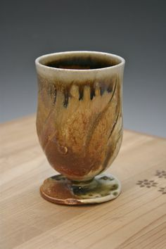 Soda Fired Gold Wine Glass 07 Gold Wine Glass by WildfireClay